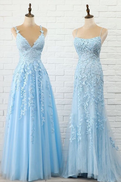 A-line tulle long prom dress with lace appliques light sky blue evening dress P01327