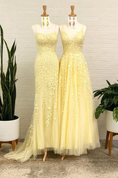A-line tulle long prom dress with lace appliques yellow evening dress P01329