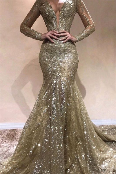 Sexy Mermaid V-Neck Long Sleeves Sequins Prom Dresses P01342