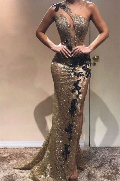 Cheap Sheath One-Shoulder Sequins Applique Prom Dresses P01343