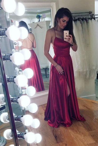 Spaghetti strap prom dress with slit,party dresses P01351