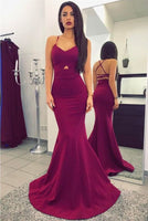 Sexy Mermaid Prom Dresses Criss Cross Straps Long Evening Dresses Sweep Train P01357