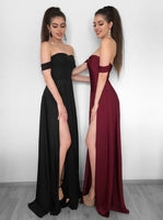 Elegant Off-the-Shoulder Evening Dress | Prom Party Gowns With Slit P01358