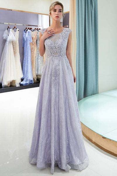 A-line Sleeveless Lace Appliques Flowers Formal Dresses P01363