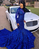 Sexy Flowers Royal Blue Prom Dress | Long Sleeve Prom Dress P01367
