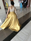 New One-Shoulder Satin Sweep Prom Dresses P01368