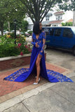 Royal-Blue Long-Sleeves Lace Side-Slit Sexy Deep-V-Neck Prom Dresses P01372