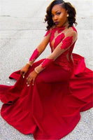 Red Lace Appliques Long-Sleeve High-Neck Sheath Poprlar Prom Dress P01374