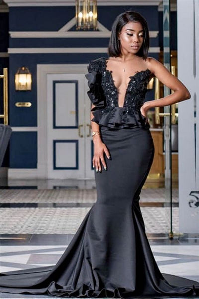 Appliques Black Prom Dresses with Court Train | Mermaid Sexy Sheer Tulle Cheap Evening Gowns P01378