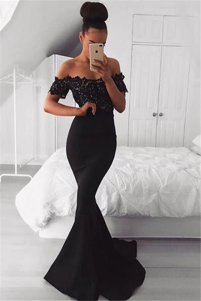 Black Off the Shoulder Lace Mermaid Prom Dresses | Short Sleeves Formal Gowns P01381