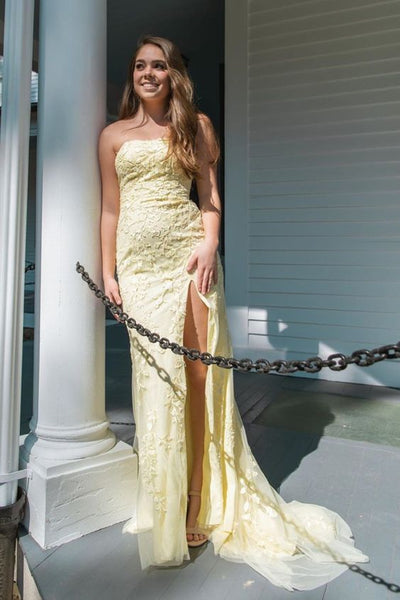Strapless Light Yellow Lace Long Prom Dress with Slit P01382