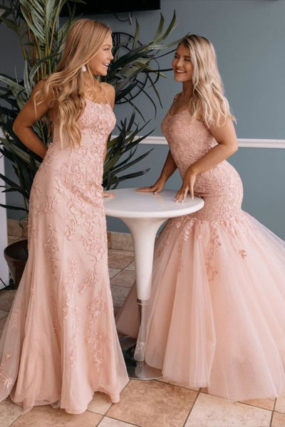 elegant mermaid lace long formal dress with lace up back P01385