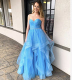 Blue tulle long prom dress evening dress P01407
