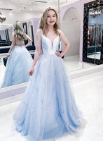 Blue tulle long prom dress blue evening dress P01408