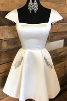 short white homecoming dresses with cap sleeevs and pockets School Dance Dress P01432