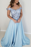 light blue prom dresses off shoulder satin gown lace embroidery P01444