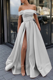 silver evening gowns,long prom dresses,sexy off shoulder dress P01451
