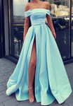 Light blue prom dresses off shoulder evening gown P01459