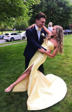 Mermaid Yellow Prom Dress, Long Prom Dress with Slit P01464