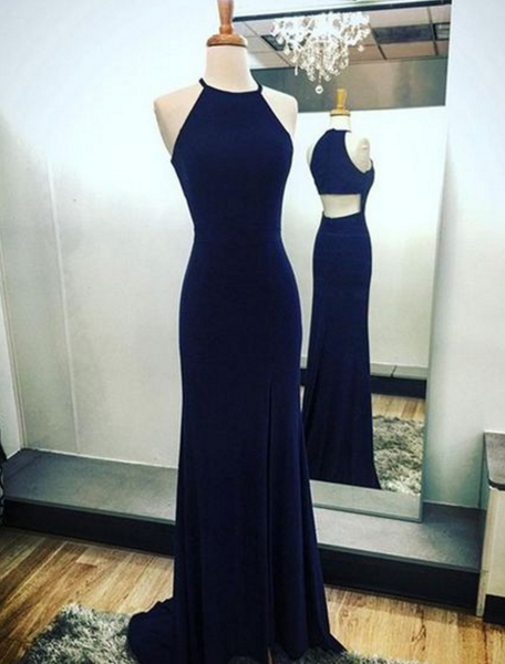 Navy Blue Sheath Halter Prom Dresses Sweep Train with Split-Side,Open Back Prom Dresses, Dark Blue Evening Dresses P01469