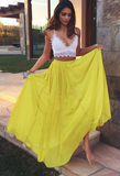 Two Piece Prom Dress,Yellow Prom Dresses,Long Evening Dress P01470