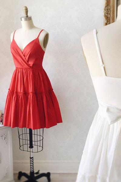 Simple satin red short prom dress red cocktail dress P01490