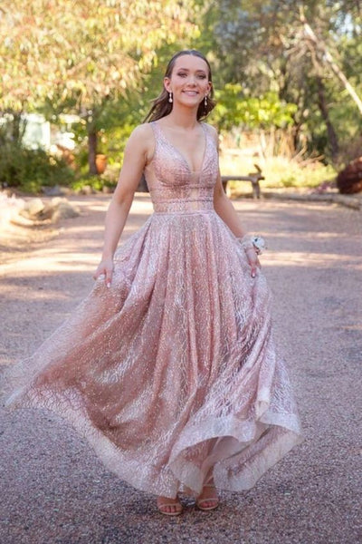 pluning neckline gold sequins A-line long prom dress with 3 beaded bands P01492