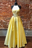 elegant halter yellow satin long prom dress with lace up back P01500