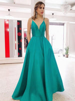 A Line V Neck Backless Green Long Prom Dresses with Pocket, Backless Green Formal Graduation Evening Dresses P01515