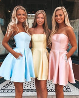 simple sleeveless short evening dresses homecoming dresses with satin P01518
