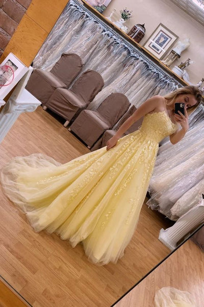 straps A-line yellow lace long prom dress ball gown evening dress P01525