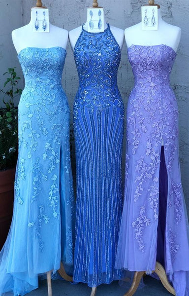 Mermaid long prom dresses, blue lace prom dresses, formal evening party dresses P01532