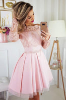 Light Pink Off the Shoulder Long Sleeves Short Homecoming Dress with Lace Appliques P01539