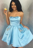 Simple Strapless Cheap Beaded Blue Homecoming Dresses P01546