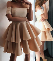 A-line Off The Shoulder Ruffles Homecoming Dresses P01555