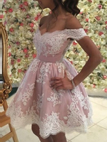 Short V-neck Tulle And Lace Homecoming Dresses Off The Shoulder Cocktail Dress P01557