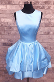 Short Ruffle Satin Scoop Neck Homecoming Dresses P01561