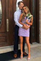 Tight Short Homecoming Dress, Lilac Homecoming Dresses with applique P01589