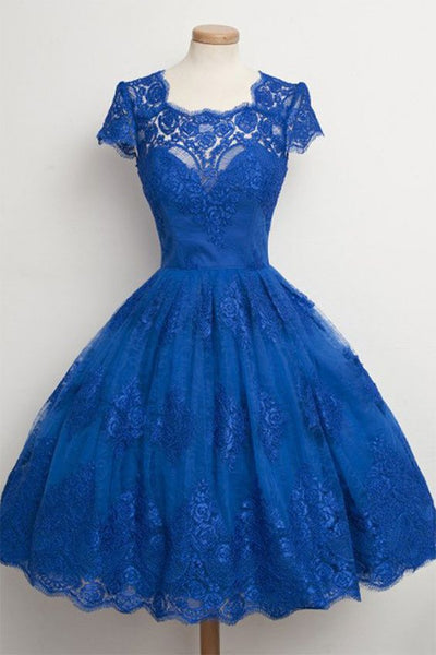 Blue Homecoming Dress with Sleeves, Short Homecoming Dresses P01595