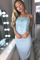 Sheath Spaghetti Straps Knee-Length Blue Homecoming Cocktail Dress with Lace P01630