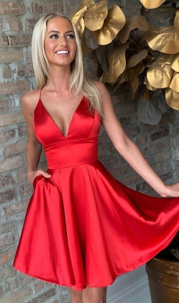 Deep V Neck Spaghetti Straps Short A Line Pleated Satin Halter Homecoming Dresses P01652