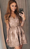 long sleeves short formal dresses, champagne lace short prom dresses, knee length 8th grade dresses P01681