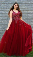 luxury beaded prom dresses, red long prom dresses, stunning evening party gowns P01704