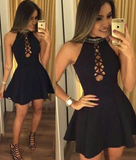 Black Halter A-line Homecoming Dress, Short Prom Dress, Simple Party Dress P01719