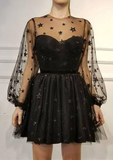 black short homecoming dresses Simple Party Dress P01720