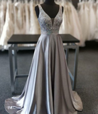 A-Line V-Neck Sweep Train Grey Beaded Prom Dress P01721