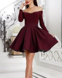 Short Satin Ruffles Prom Homecoming Dresses With Sleeves P01735