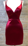 sexy tight dark red homecoming dresses, cocktail dresses fitted Homecoming Dress,P01737
