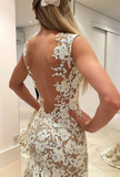 Mermaid lace long prom dress, lace evening dress P01755