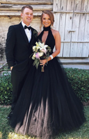 High Neck Black Prom Dresses Long Ball Gown Formal Dress P01763